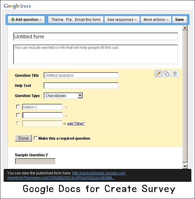how to create a google survey on google docs